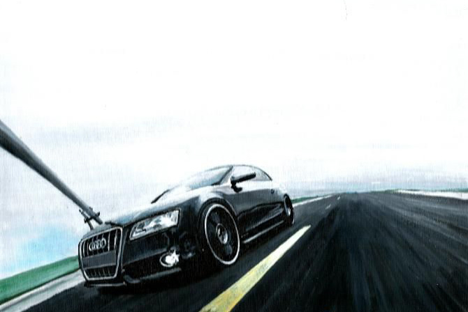 Drawing of an black Audi A5