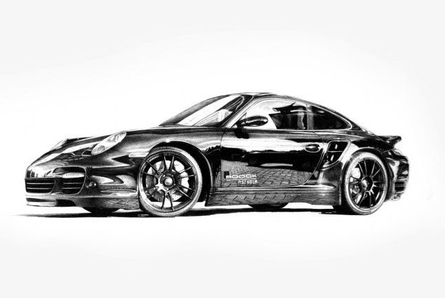Porsche 997 black and white drawing