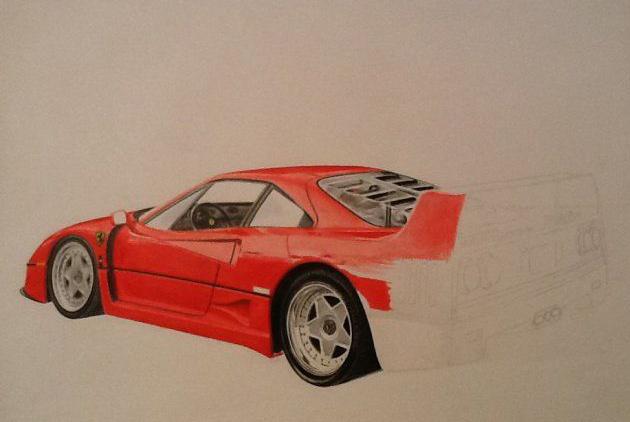 Ferrari F40 in progress drawing