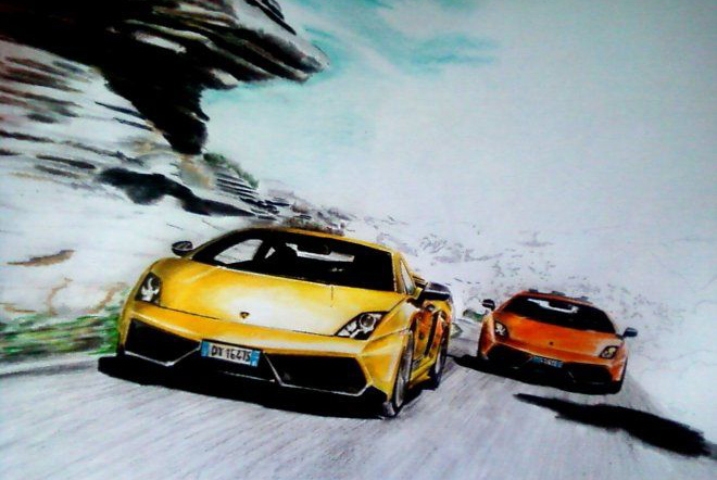 Lamborghini Gallardo drawing in progress